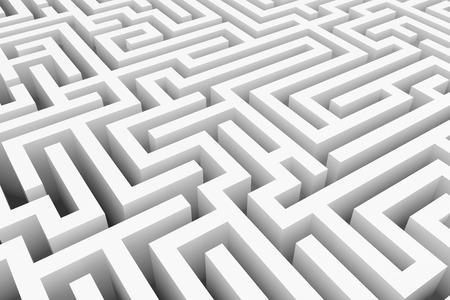 laberinto: Blanco laberinto manera compleja para encontrar la salida concepto de negocio. Foto de archivo