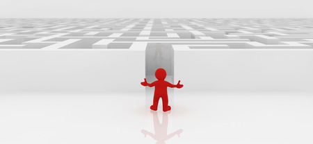 red man: Red man standing in white maze complex way to find exit business concept. Stockfoto
