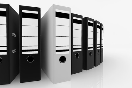 White folder standing out from a lot of black folders  database storage concept. photo