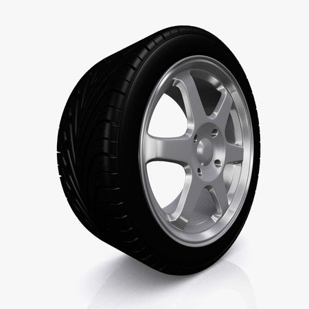 vehicle part: Car wheel isolated on white background vehicle part. Stock Photo