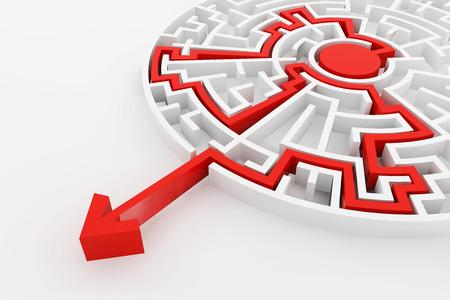 laberinto: Laberinto Blanca y solución roja línea de manera compleja para encontrar la salida concepto de negocio.