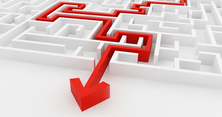 ideas risk: White maze and red solution line complex way to find exit business concept. Stock Photo