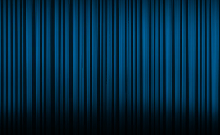 Blue curtain with spot light on theater or cinema stage. Stock Photo