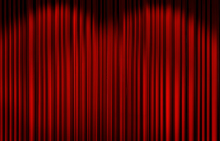 light play: Red curtain with spot light on theater or cinema stage.
