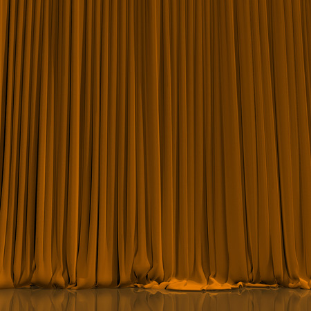Yellow curtain with spot light on theater or cinema stage.