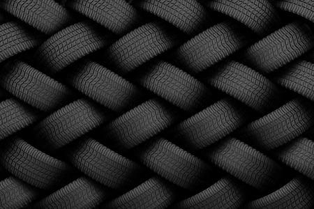 Black tire rubber, vehicle part, spare part. Standard-Bild