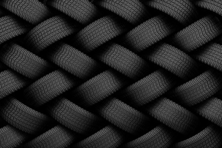 Black tire rubber, vehicle part, spare part. Stockfoto