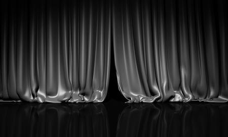 스포트 라이트와 함께 극장이나 영화 무대에 검은 커튼.