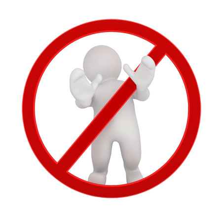 warning against a white background: 3d blank man standing behind stop sign, with clipping path.