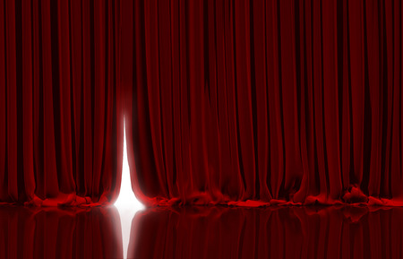 Opening red curtain on theater or cinema stage. Stockfoto