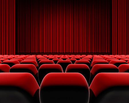 Bioscoop of theater scherm, rode gordijn en podium met zitplaatsen.