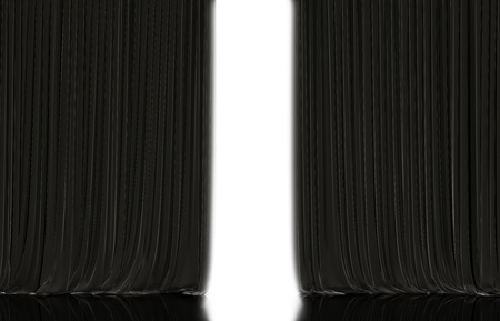 Opening black curtain on theater or cinema stage.