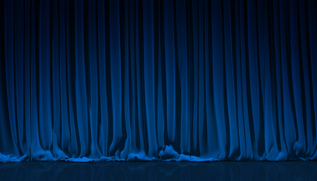 theatre performance: Blue curtain on theater or cinema stage. Stock Photo
