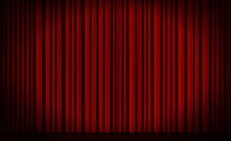 cortinas rojas: Cortina roja con luz focal en el teatro o estadio cine. Foto de archivo