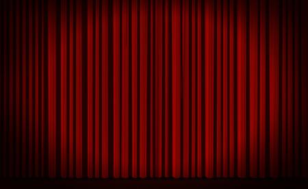 Rode gordijn met spot licht op theater of bioscoop podium.