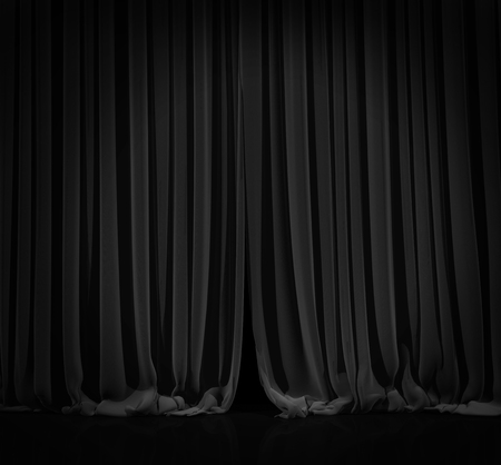 curtain theatre: Black curtain with spot light on theater or cinema stage. Stock Photo