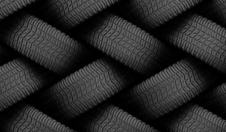 Black tire rubber, vehicle part, spare part. Archivio Fotografico