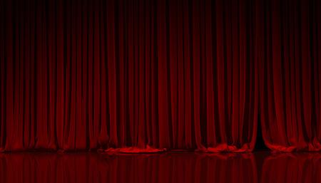 cortinas: Cortina roja en teatro o escenario cine. Foto de archivo