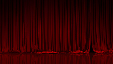 stage curtain: Red curtain on theater or cinema stage.