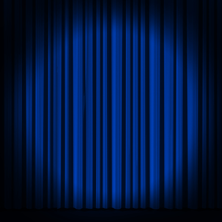 Blue curtain with spot light on theater or cinema stage. Фото со стока