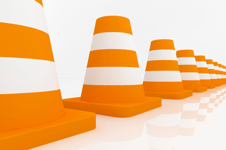 traffic   cones: 3d orange traffic cones with white stripes - with clipping path.