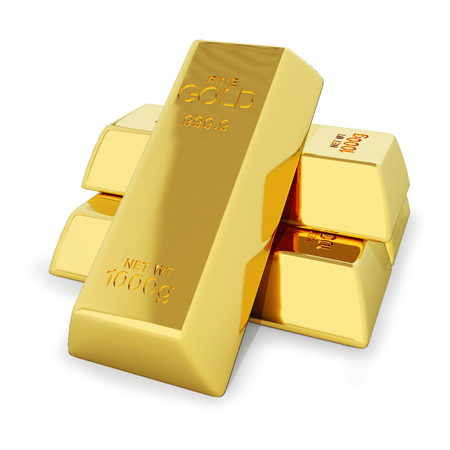 Stack of gold bars isolated on white with clipping path.