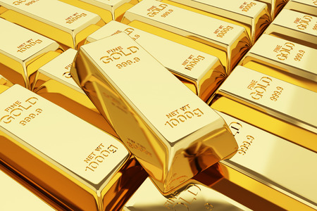 financial success: Stack of gold bars - business success concept.