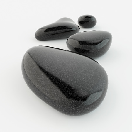 stone background: Black zen stones on white background, spa concept. Stock Photo