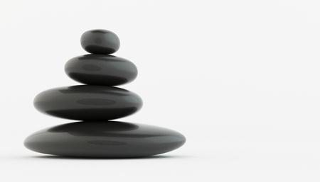 black stone: Stack of black zen stones on white floor, spa concept.