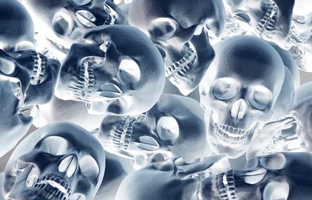 Stack of human skulls, dead and war concept.