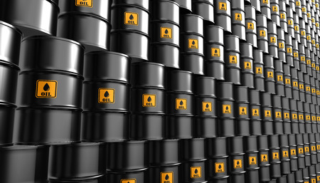 fuel storage: Black Metal Oil Barrels Background, Industrial Concept.