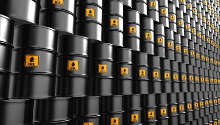 barril de petróleo: Negro aceite de metal barriles de fondo, el concepto de industria. Foto de archivo