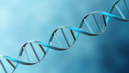 genomes: 3D digital DNA structure helix spiral in blue background. Stock Photo