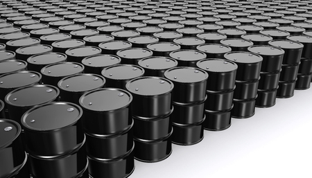 natural gas prices: Black Metal Oil Barrels on White Background, Industrial Concept.