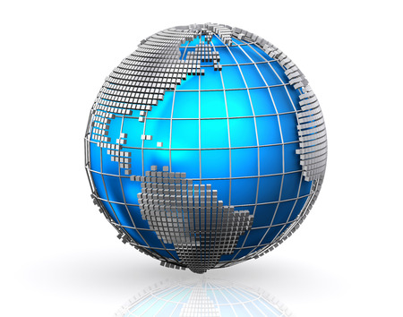 global networking: Blue global business world background, Globalization concept.