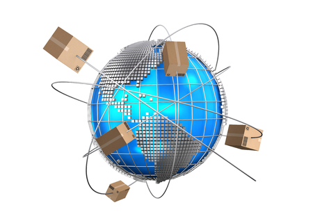 logistics world: Global logistics network, cargo shipping, import-export commercial logistic, Logistic concept. Stock Photo