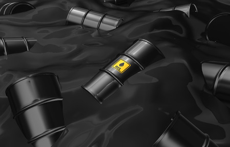 natural gas prices: Black Oil Barrels floating on Oil Sea, Industrial Pollution Concept.