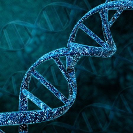 genomes: DNA helix structure on blue background with clipping path.
