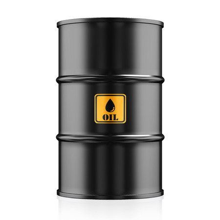 natural gas prices: Black Metal Oil Barrel on White Background, Industrial Concept. Stock Photo
