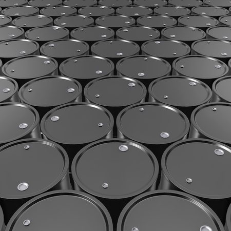 natural gas prices: Black Metal Oil Barrels Background, Industrial Concept.