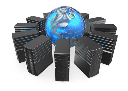 workstation: 3D illustration of network workstation servers connected with world.