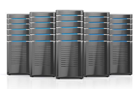workstation: 3D illustration of network workstation servers isolated on white background.