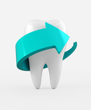whitening: 3D illustration of tooth protection and whitening, dental concept.