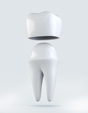 3D illustration of Crown tooth on white, dental concept.