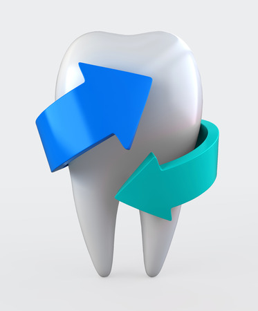carious: 3D illustration of tooth protection and whitening, dental concept.