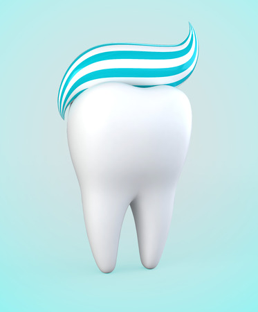 whitening: 3D illustration of toothpaste on tooth, whitening dental care. Stock Photo