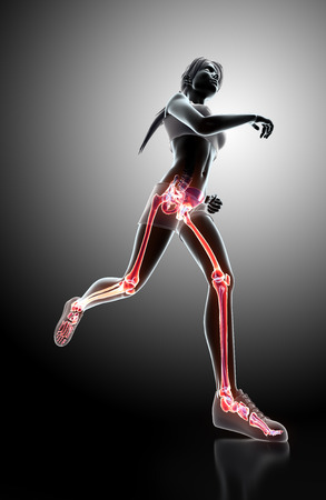 runing: 3d illustration - woman runing pose with x-ray joint and legs skeleton. Stock Photo