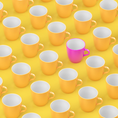 Pink coffee glass out standing from multiple yellow glass pop art design. Stock Photo