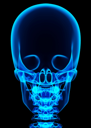 3D illustration of shiny blue skeleton system, medical concept. Stock Photo