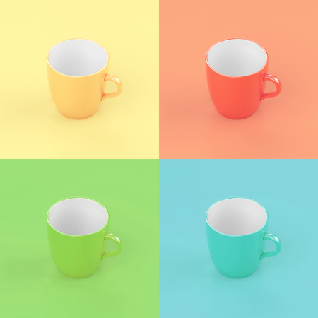 Colorful lighting cup of coffee creative design. Stock Photo